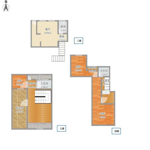 漓江山水花园3室1厅2卫1厨61.58㎡户型图