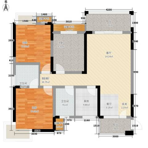 高鑫巴比伦花园3室1厅2卫1厨115.00㎡户型图