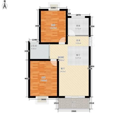 中南・麒麟锦城2室0厅1卫1厨85.00㎡户型图