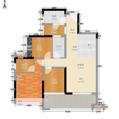 金地湖山大境2室0厅2卫1厨103.00㎡户型图