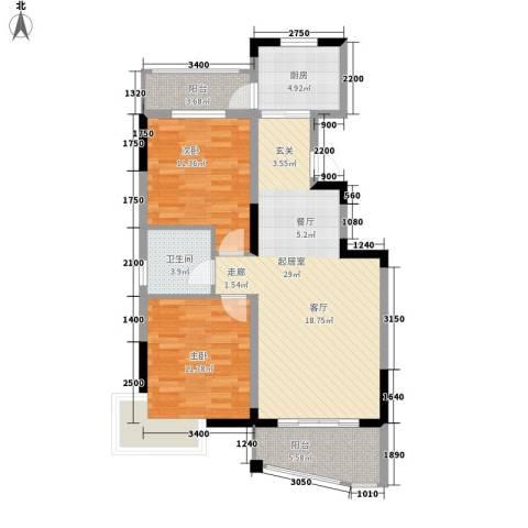 水岸怡园2室0厅1卫1厨91.00㎡户型图