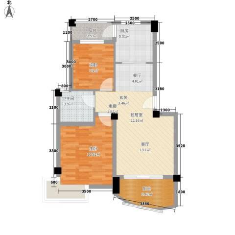 水岸怡园2室0厅1卫1厨74.00㎡户型图