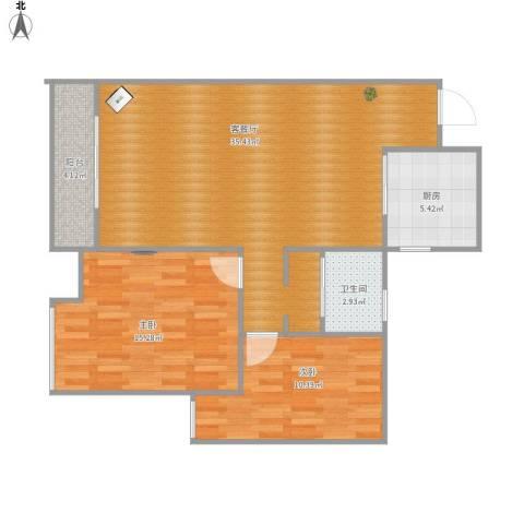 南岸花园2室1厅1卫1厨99.00㎡户型图