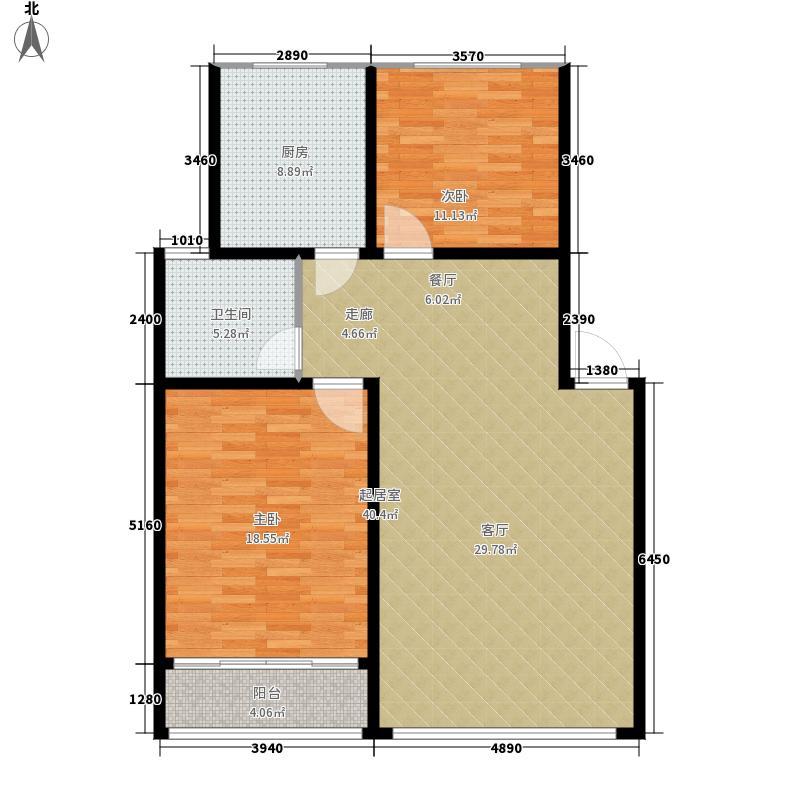 九九绿墅园97.14㎡两室两厅一卫户型2室2厅1卫