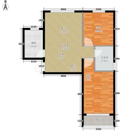 领秀城2室0厅1卫1厨96.00㎡户型图