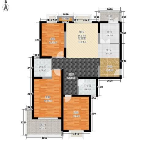 正大滨江瑞景家园3室0厅2卫1厨137.00㎡户型图