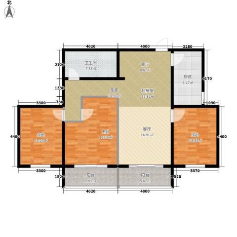 领秀城3室0厅1卫1厨108.00㎡户型图