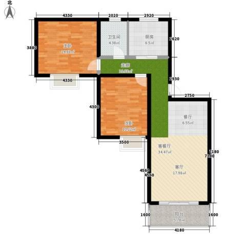 好家园经济适用房2室1厅1卫1厨89.00㎡户型图
