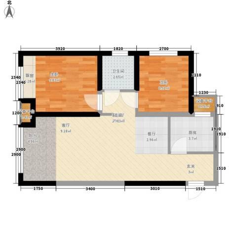 奥林匹克花园2室1厅1卫1厨59.67㎡户型图