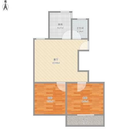 共康七村2室1厅1卫1厨57.00㎡户型图