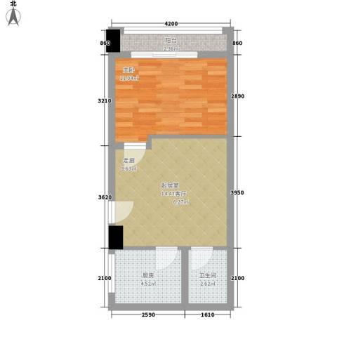 朝阳银座1室0厅1卫1厨55.00㎡户型图