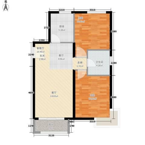 仁桥新村2室1厅1卫1厨83.00㎡户型图