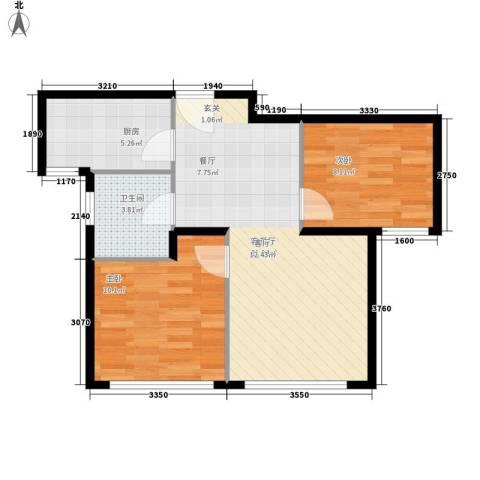仁桥新村2室1厅1卫1厨67.00㎡户型图