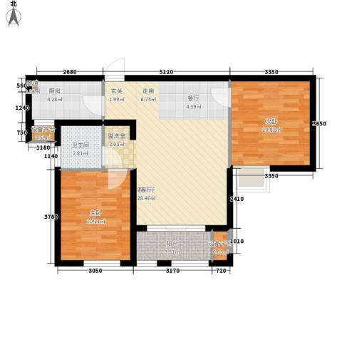 奥林匹克花园2室1厅1卫1厨67.14㎡户型图