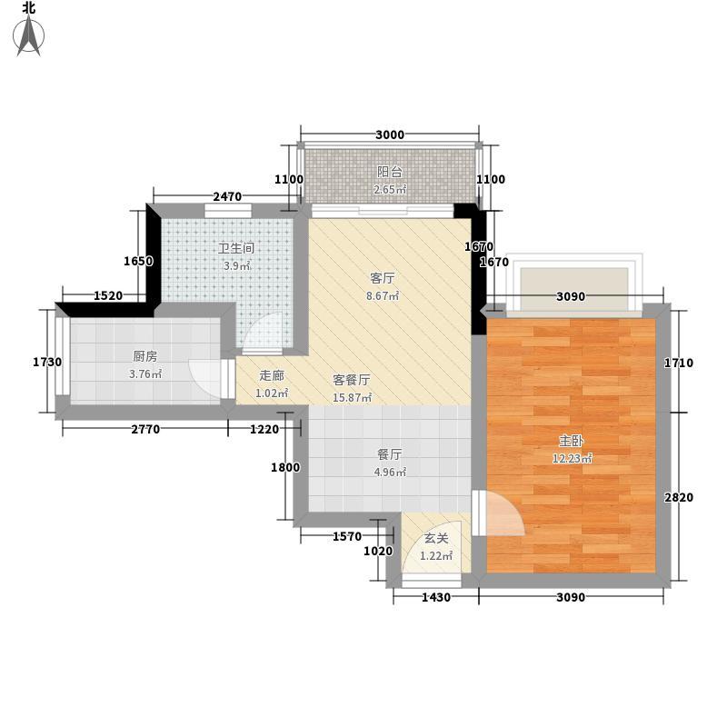 皇冠国际公寓62.00㎡72面积6200m户型