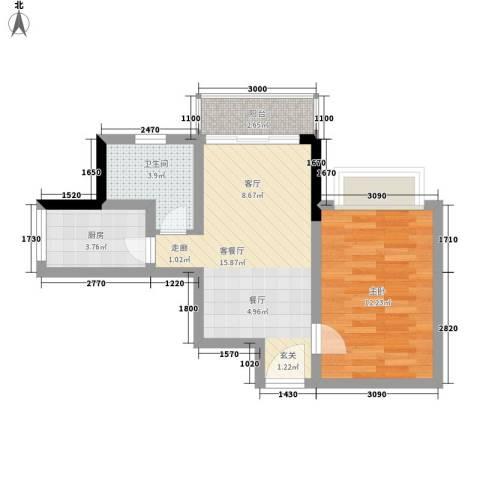 皇冠国际公寓1室1厅1卫1厨62.00㎡户型图