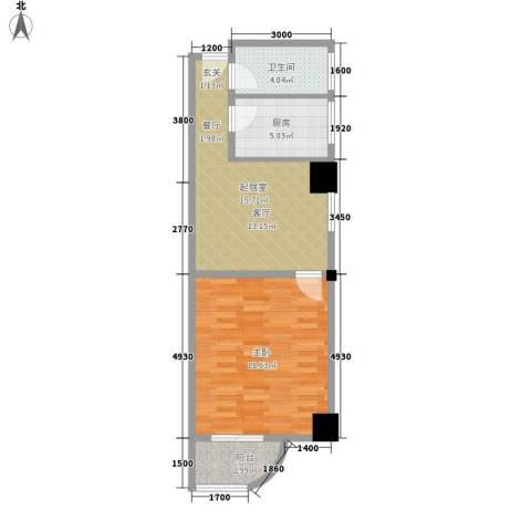 朝阳银座1室0厅1卫1厨69.00㎡户型图