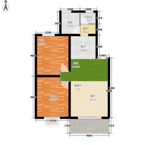 好家园经济适用房2室1厅1卫1厨91.00㎡户型图