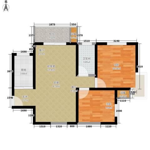 火星社区2室0厅1卫1厨60.00㎡户型图