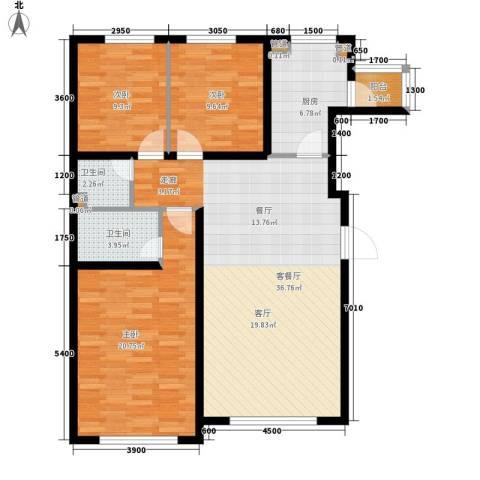 青橙部落3室1厅2卫1厨129.00㎡户型图
