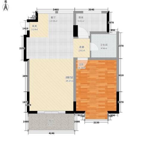 广博苑1室0厅1卫1厨80.00㎡户型图