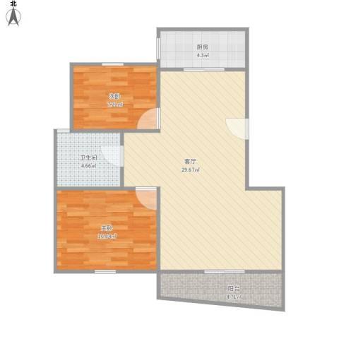 三湘盛世花园2室1厅1卫1厨83.00㎡户型图