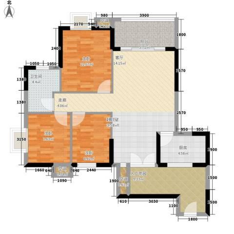 世纪城龙兴苑3室0厅1卫1厨113.00㎡户型图