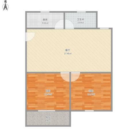 新育公寓2室1厅1卫1厨84.00㎡户型图