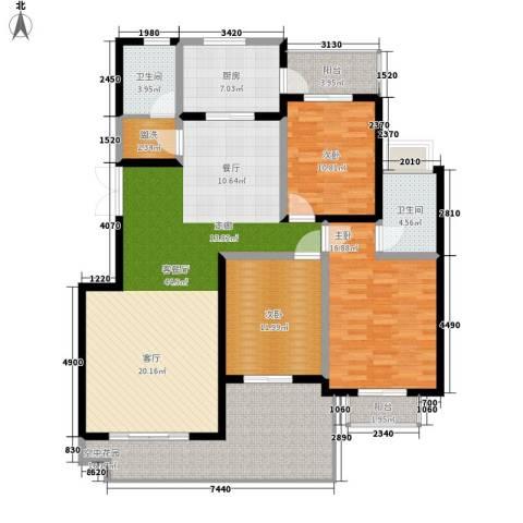 西子湖畔3室1厅2卫1厨142.00㎡户型图