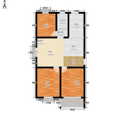 汇泽水苑3室1厅1卫1厨125.00㎡户型图