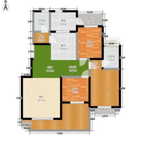 西子湖畔3室1厅2卫1厨143.00㎡户型图