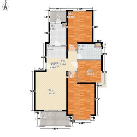 长宁馥邦3室0厅1卫1厨124.00㎡户型图