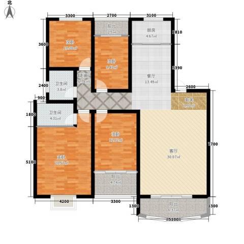 湖滨公寓4室1厅2卫1厨189.00㎡户型图
