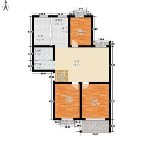 汇泽水苑3室1厅1卫1厨132.00㎡户型图