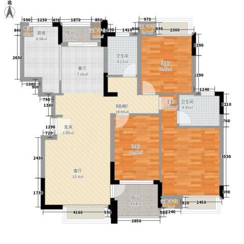 高鑫巴比伦花园3室1厅2卫1厨135.00㎡户型图
