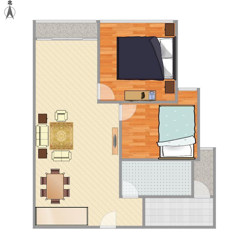 金地名津6栋I户型60平两房两厅