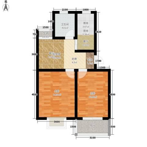 汇泽水苑2室0厅1卫1厨77.00㎡户型图