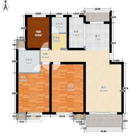 百利华府3室0厅2卫1厨122.00㎡户型图