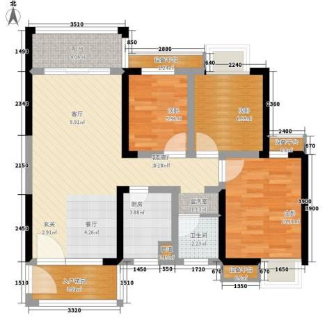 高鑫巴比伦花园3室1厅1卫1厨89.00㎡户型图