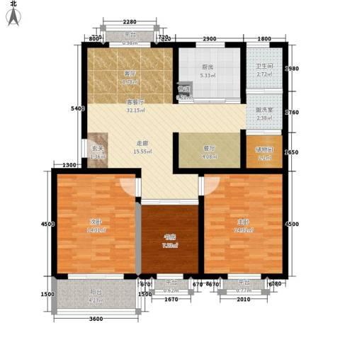汇泽水苑3室1厅1卫1厨126.00㎡户型图