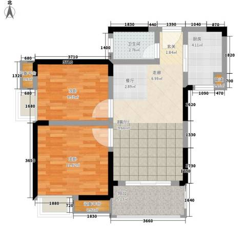 高鑫巴比伦花园2室1厅1卫1厨66.00㎡户型图