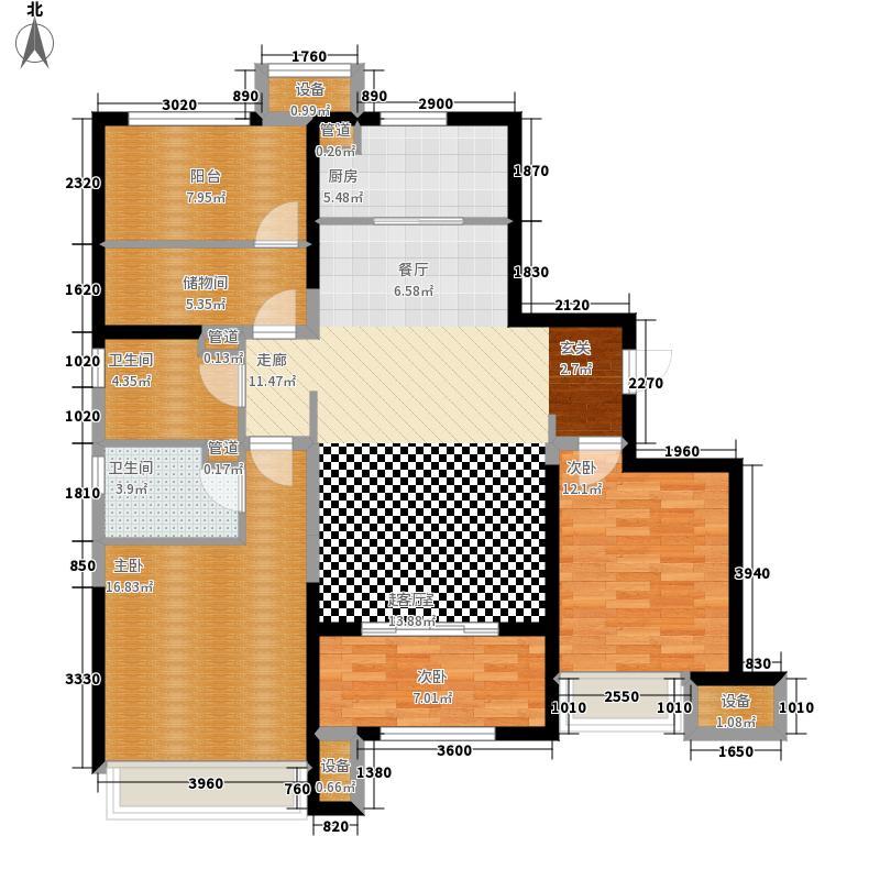 锦绣天地116.33㎡5#标准层左一A平面图户型3室2厅