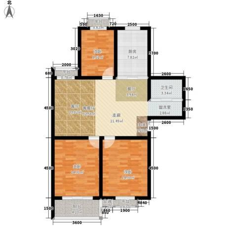 汇泽水苑3室1厅1卫1厨127.00㎡户型图