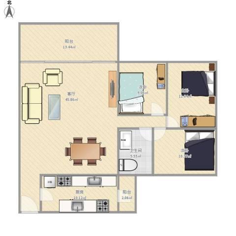绿韵花都3室1厅1卫1厨144.00㎡户型图