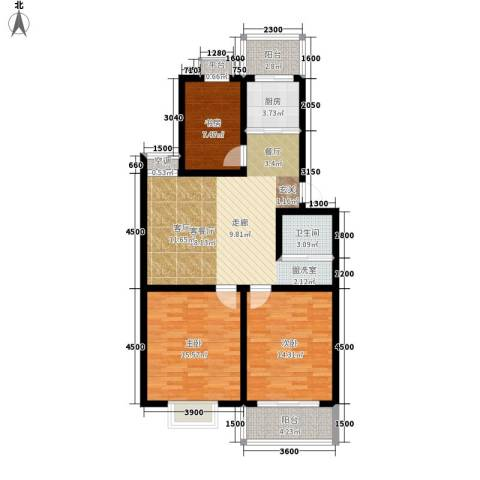 汇泽水苑3室1厅1卫1厨117.00㎡户型图