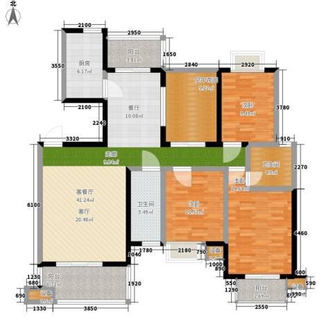 西子湖畔3室1厅2卫1厨135.00㎡户型图