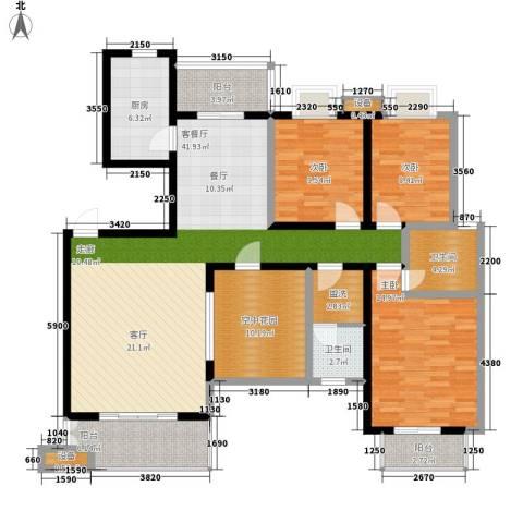 西子湖畔3室1厅2卫1厨134.00㎡户型图
