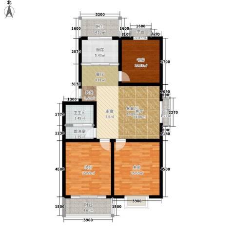 汇泽水苑3室1厅1卫1厨133.00㎡户型图