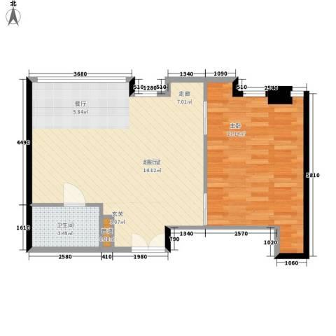 华贸国际公寓1室0厅1卫0厨70.00㎡户型图