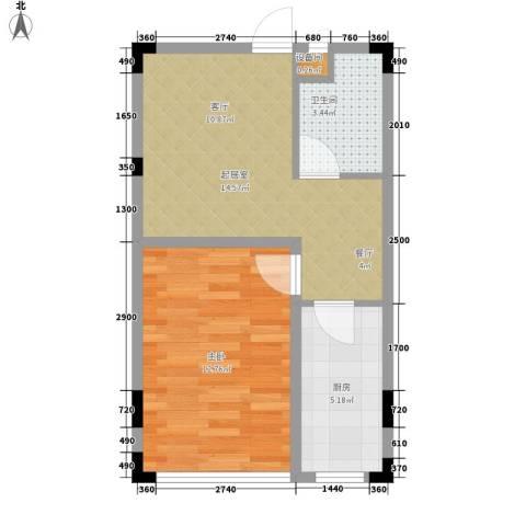 亿洲百旺郦城1室0厅1卫1厨46.00㎡户型图
